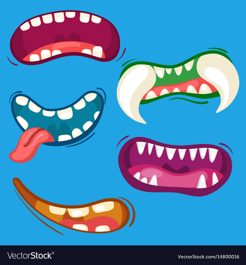 Cartoon cute monster mouths set with different