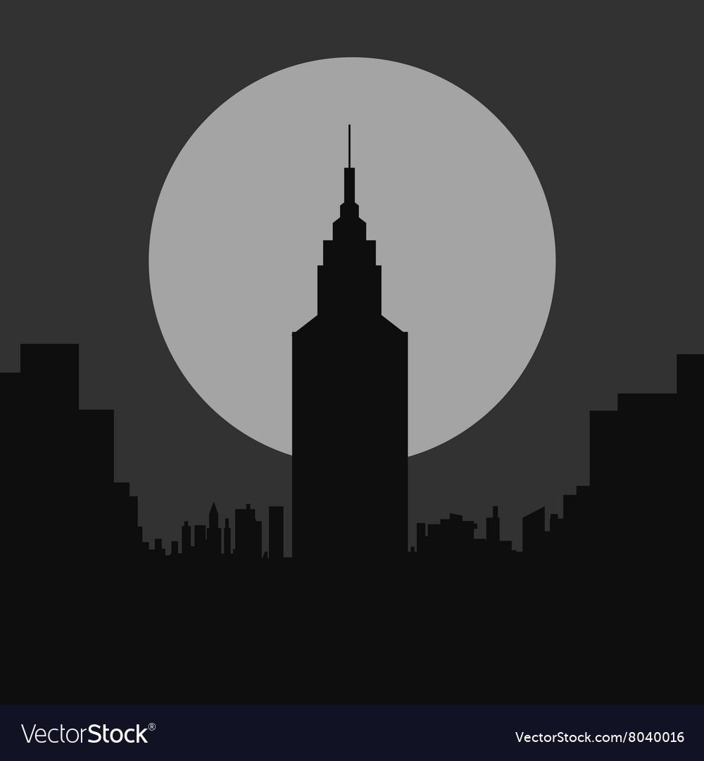 Dark gloomy night city flat silhouette