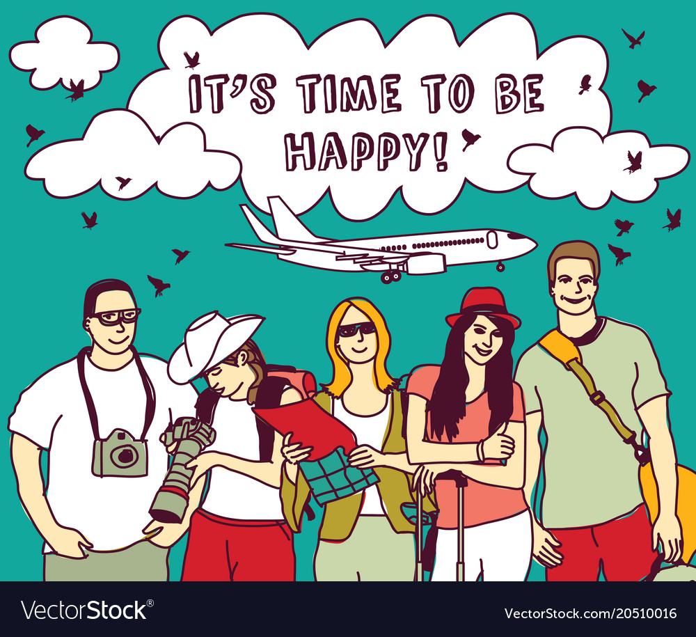 Group happy tourists vacation sky plain and sign