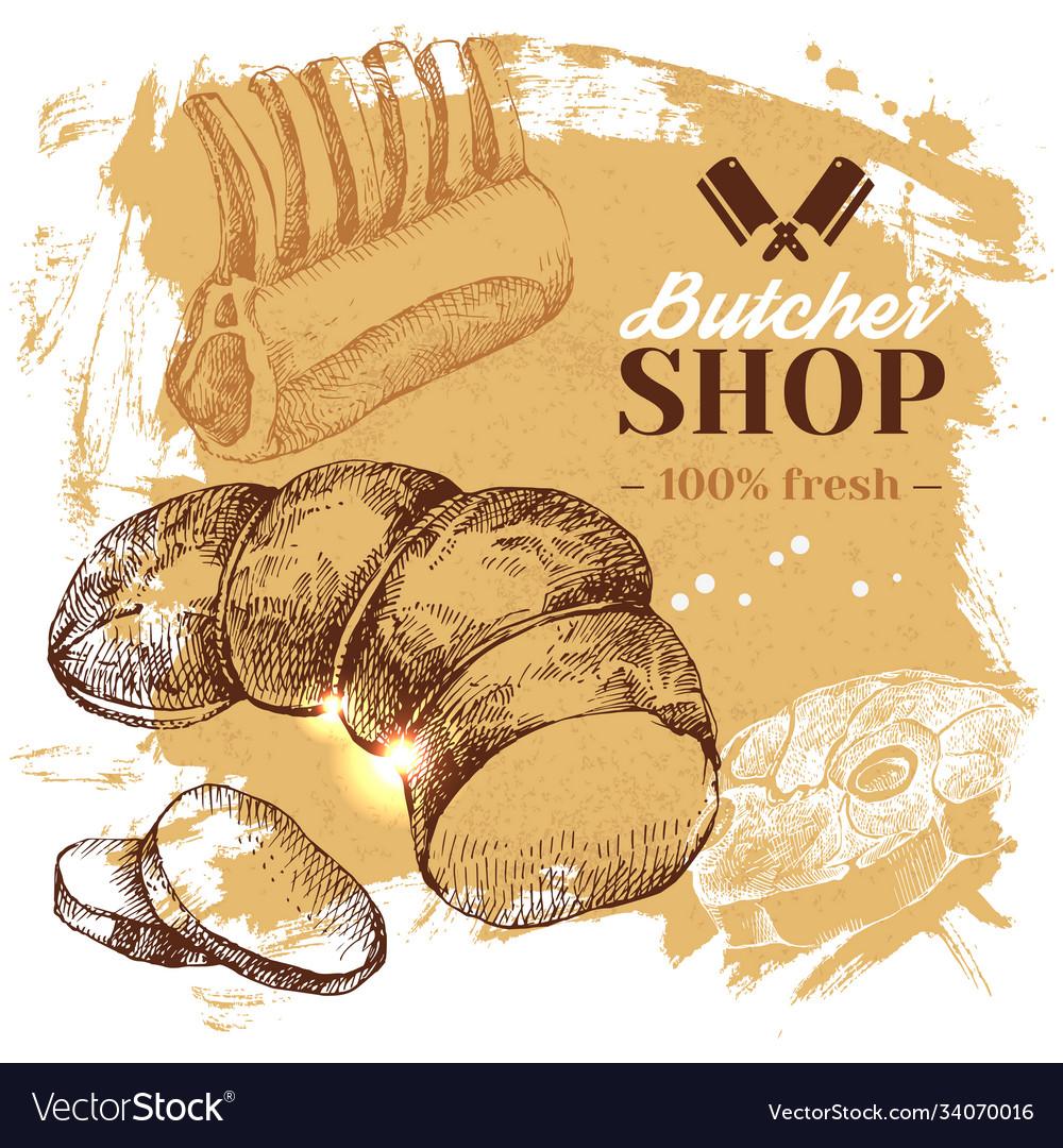 Hand drawn sketch meat butcher shop background