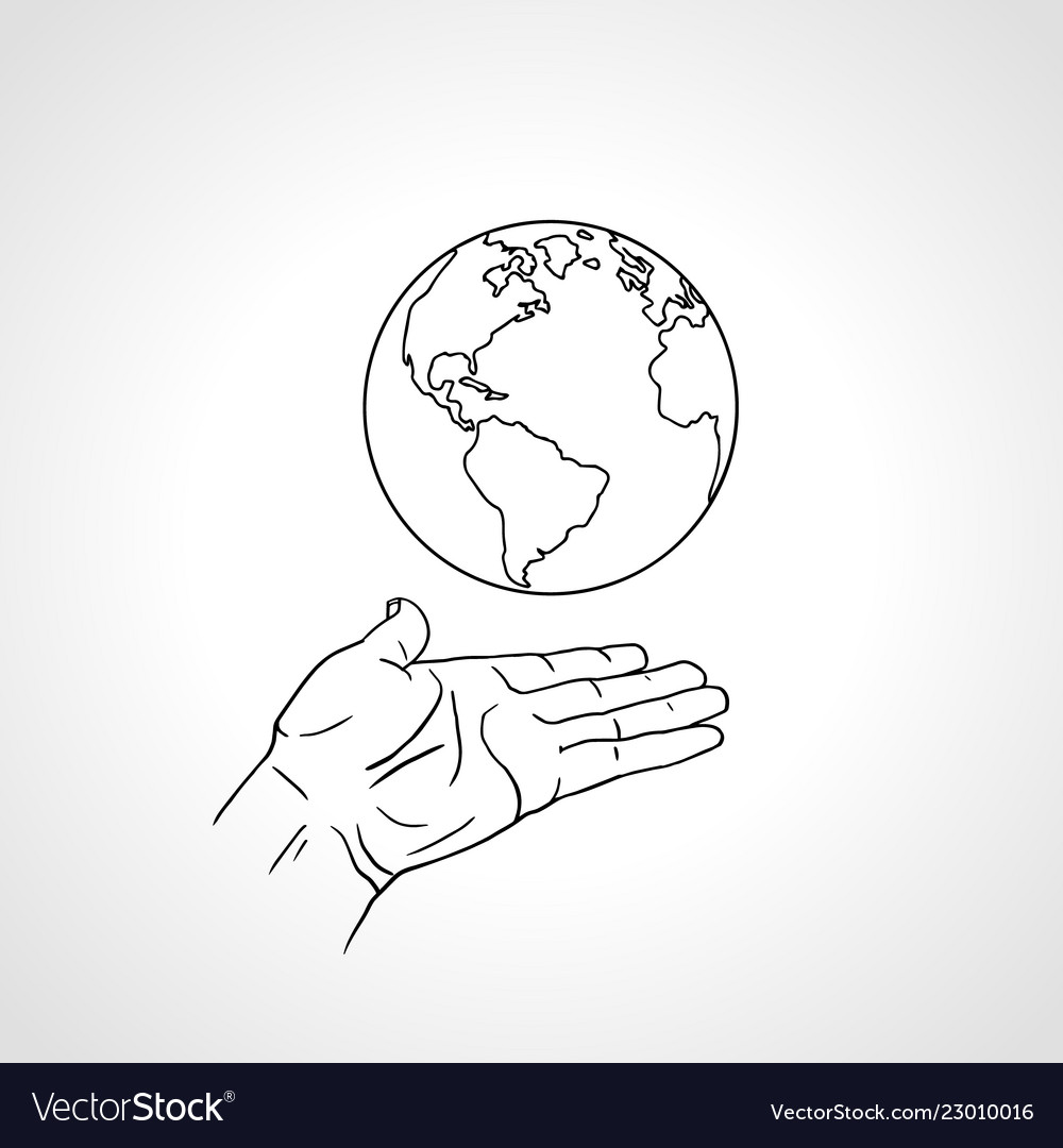Hand holding earth palm hold globe