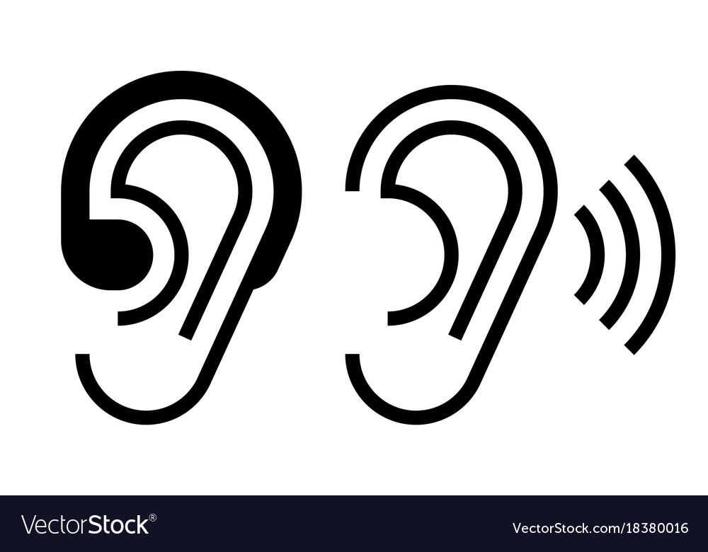 Hearing aid and ear icon vector image