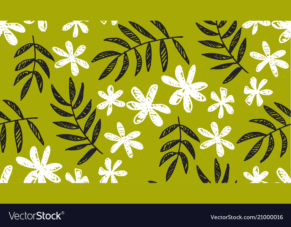 Leaves and flowers monochrome pattern