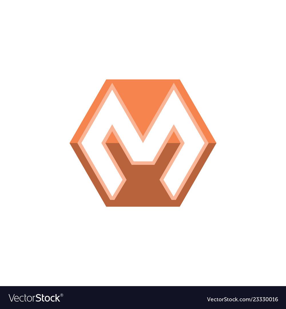 Letter m hexagon logo