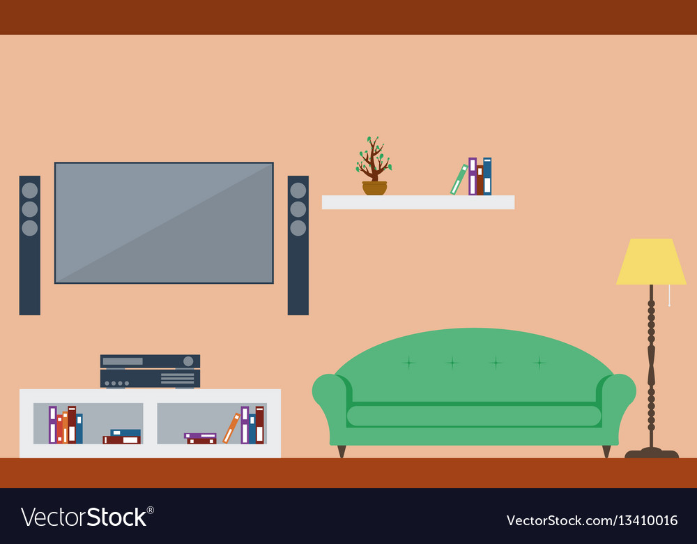 Living room interior design with furniture vector image