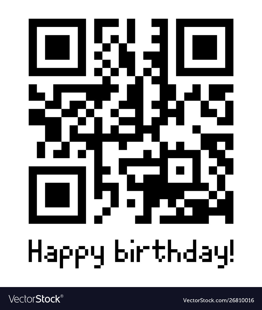 Qr code sample with text happy birthday
