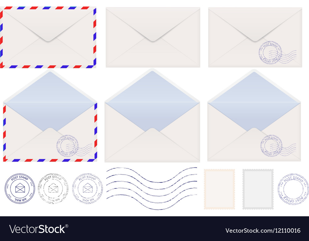 Set of envelopes Blank stamped airmail