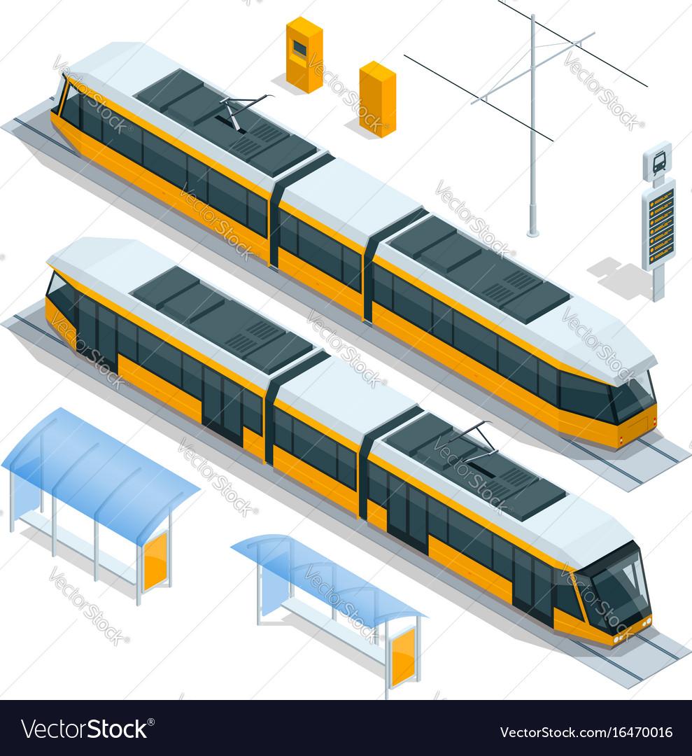 Set of isometric passenger tram train streetcar