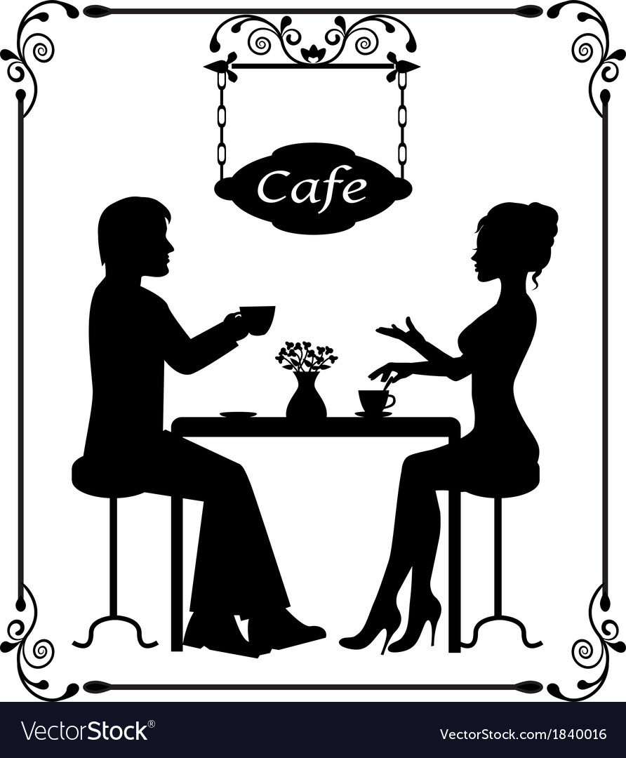 Silhouettes of a loving couple in a cafe and vinta