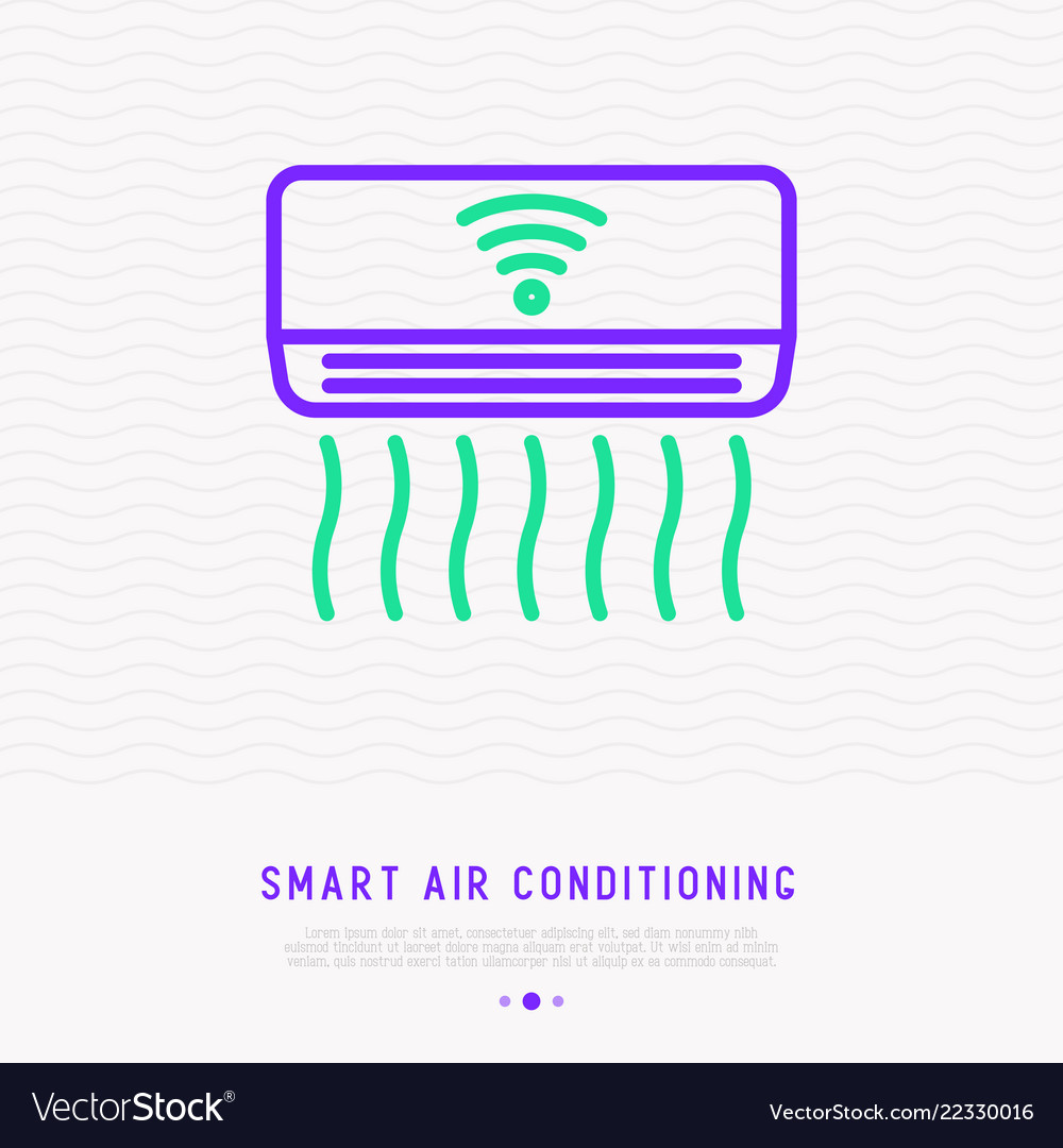 Smart air conditioning thin line icon