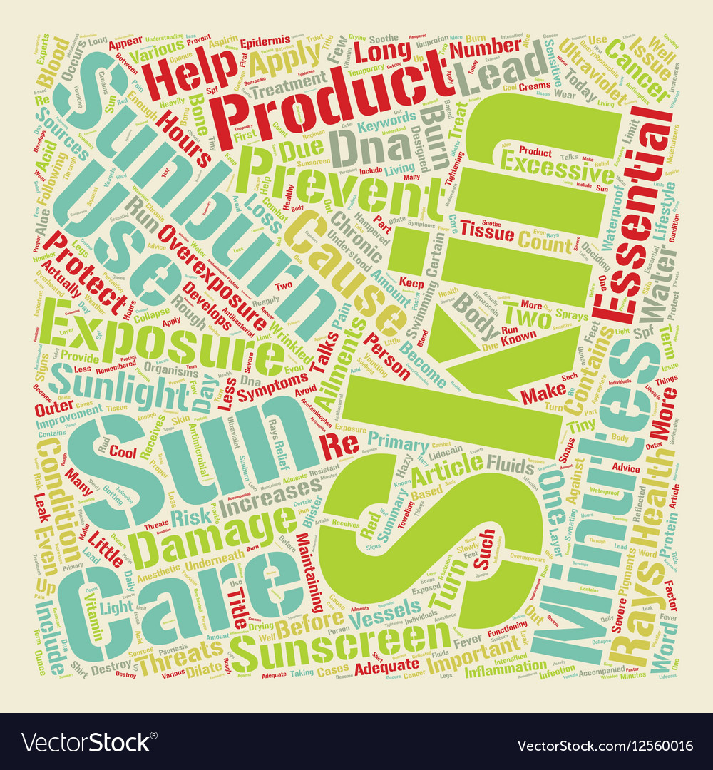 Sunburn An Important Skin Issue text background vector image