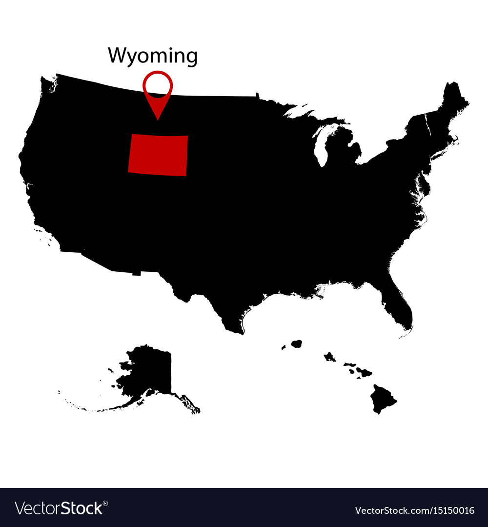 Us state on the map wyoming Royalty Free Vector Image