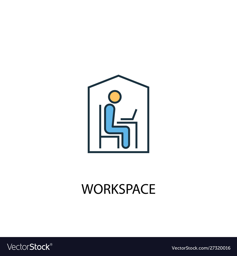 Workspace concept 2 colored line icon simple