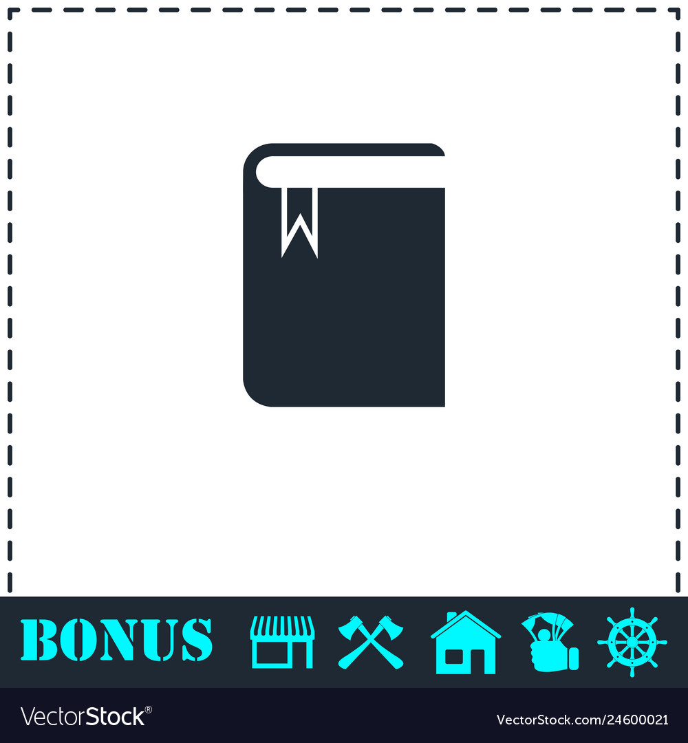 Book with bookmark icon flat