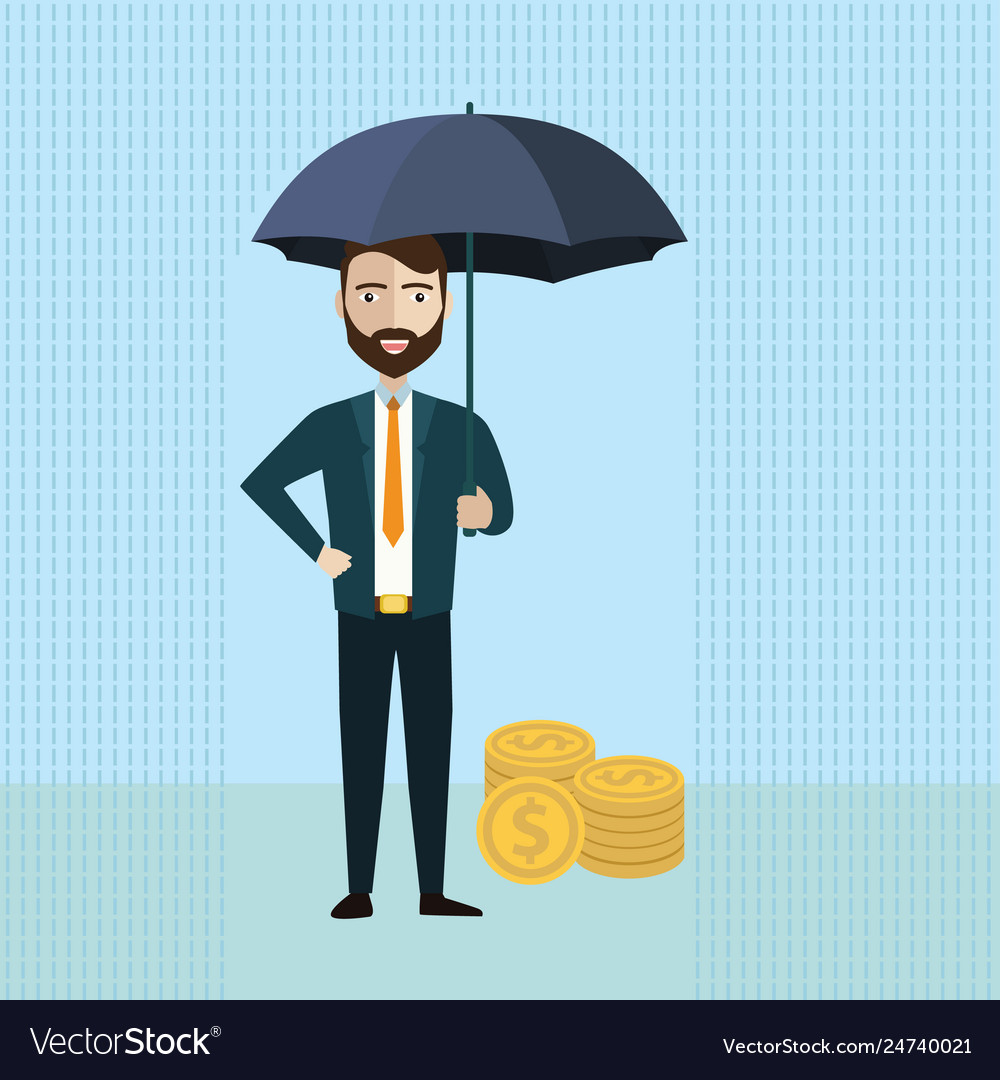 Businessman holding umbrella to protect money