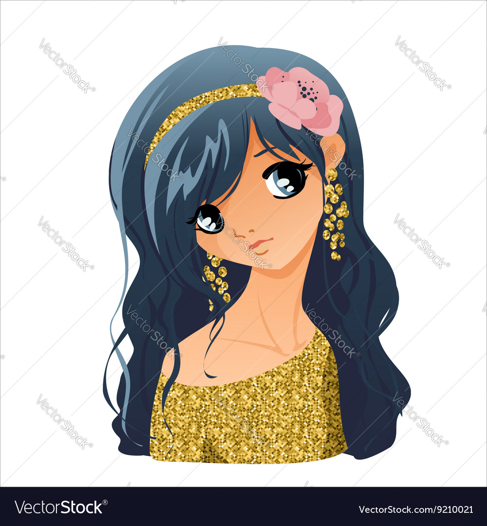 Girl portrait with flowers vector image