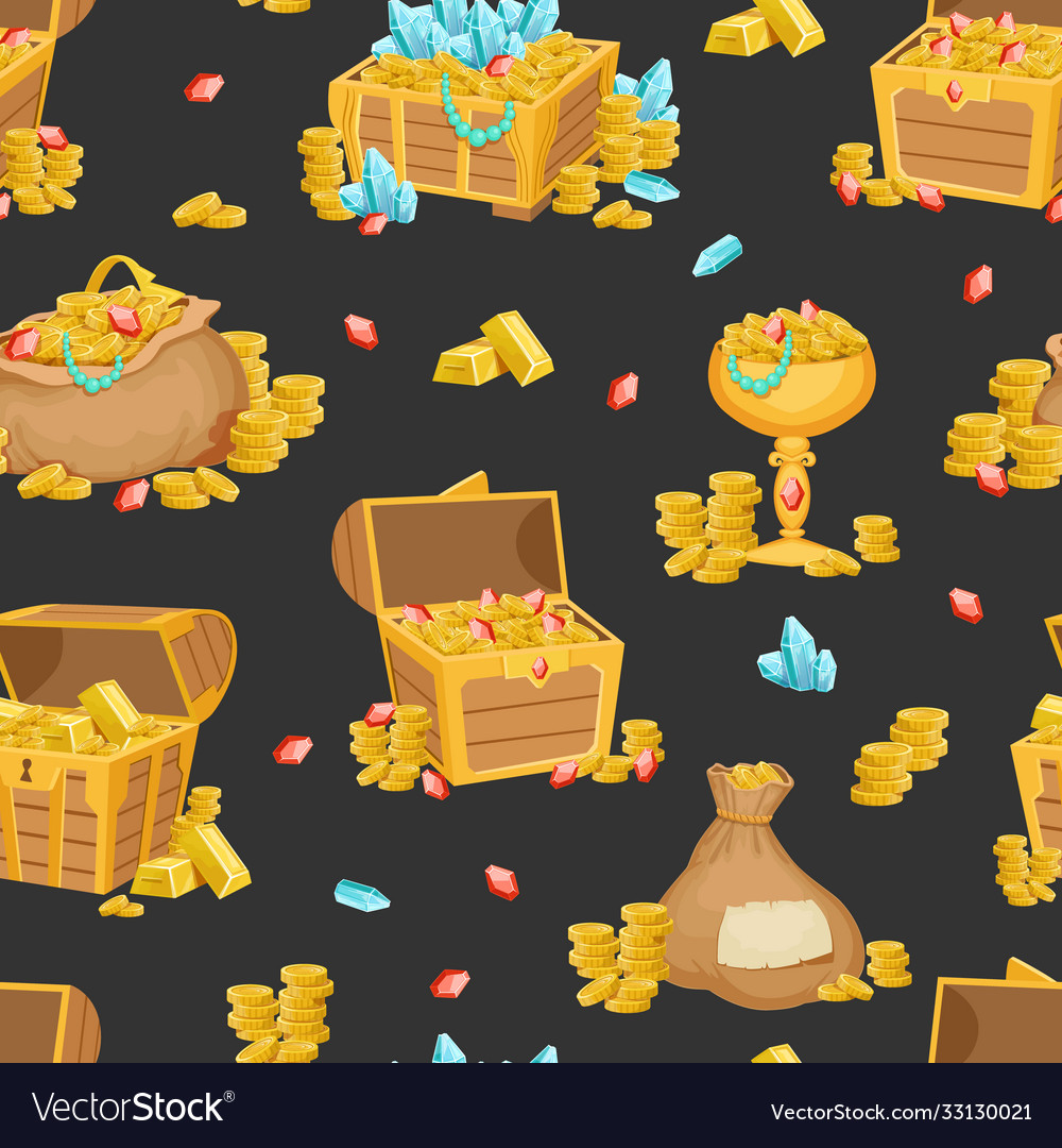 Gold treasures seamless pattern wooden chest and