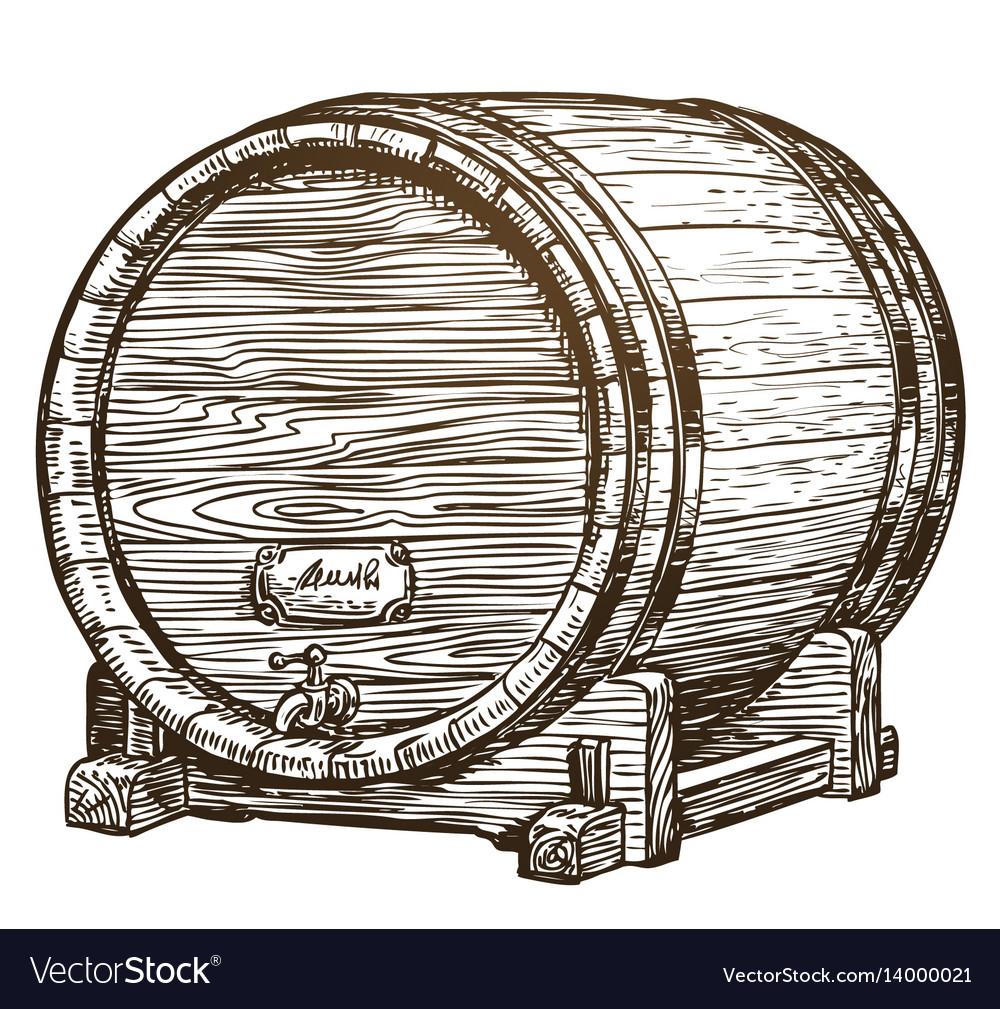 Hand drawn vintage wooden wine cask drink oak