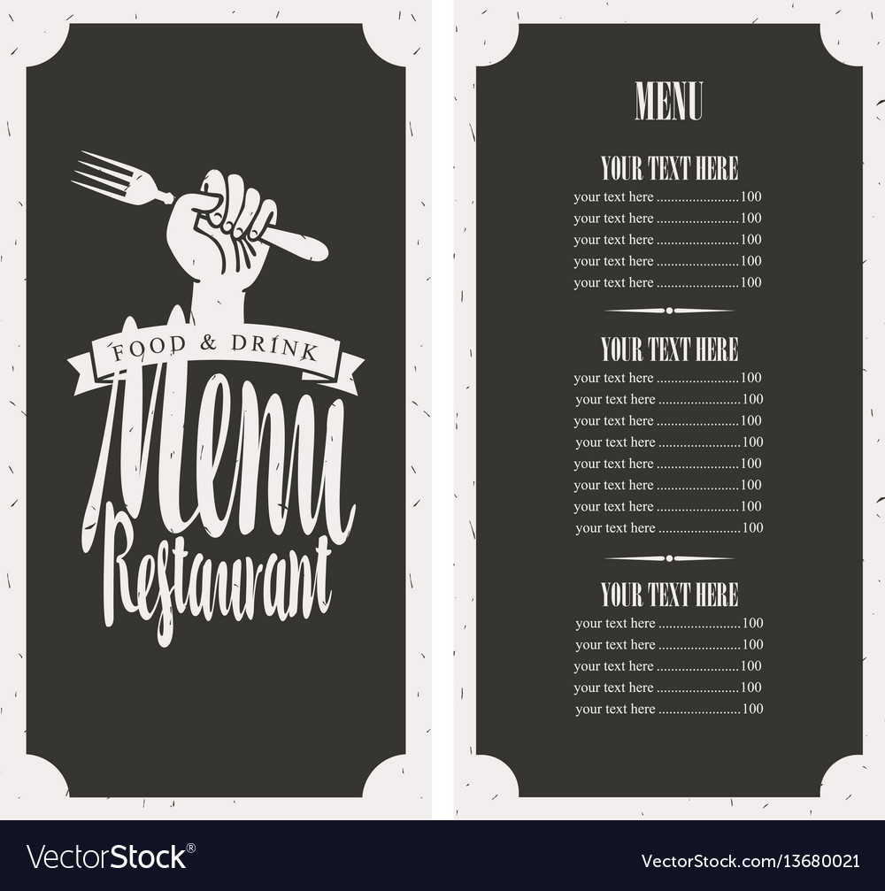 Menu on black background with fork in hand