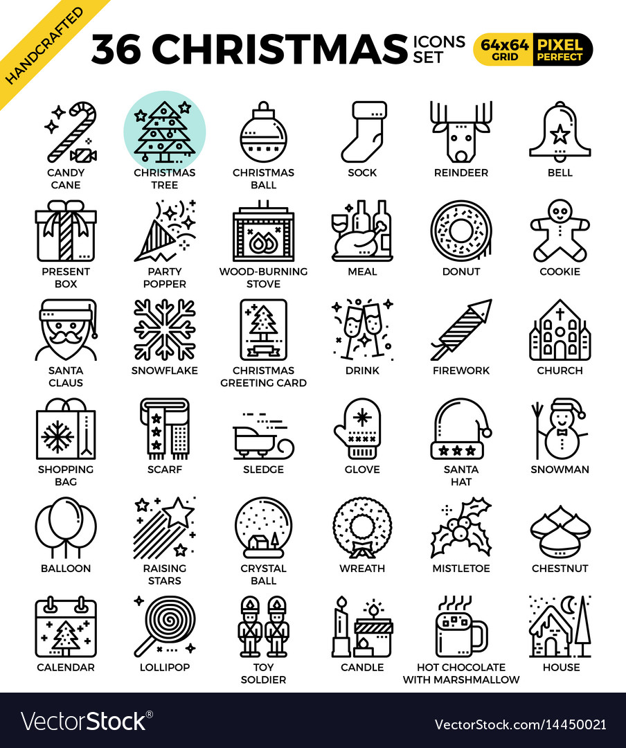 158a2f47b3066 Merry christmas xmas celebration outline icons Vector Image