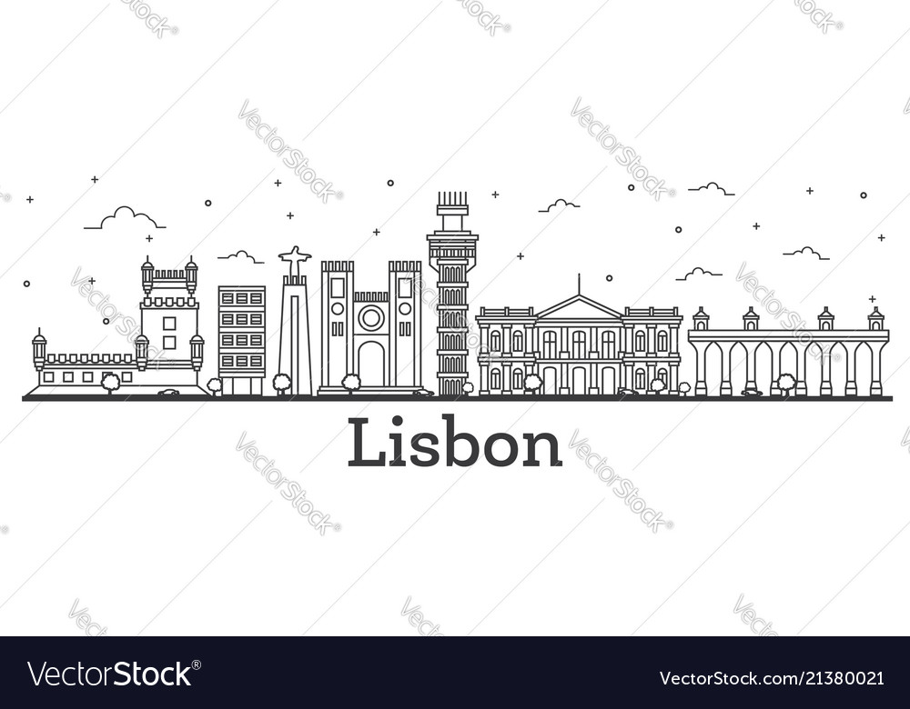Outline lisbon portugal city skyline