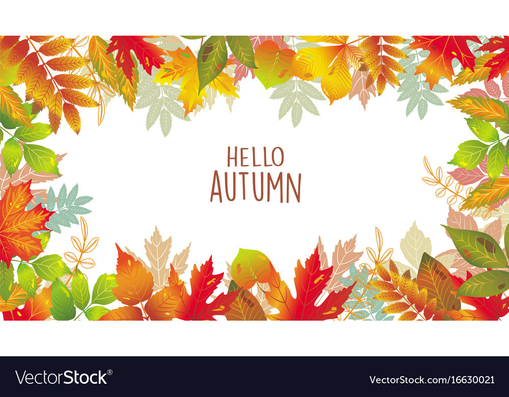 Seasonal banner of autumnal leaves