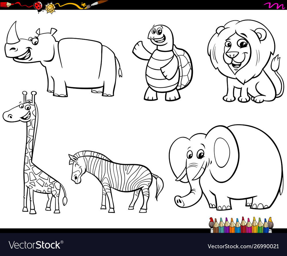 Set animal characters color book
