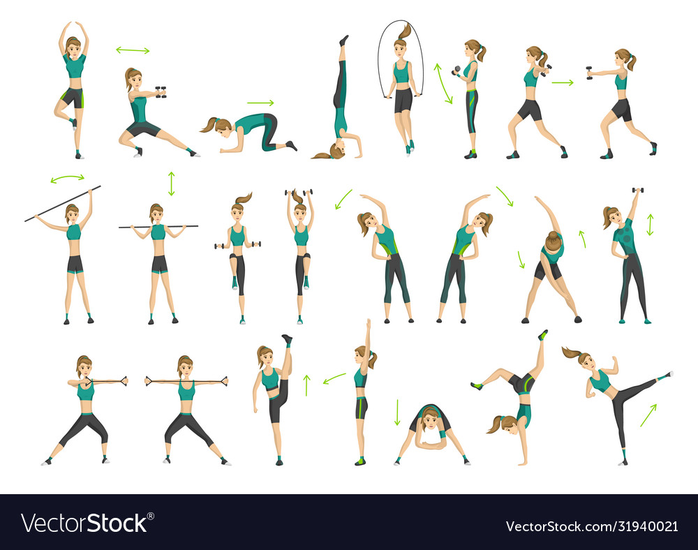Woman fitness collection workout aerobic