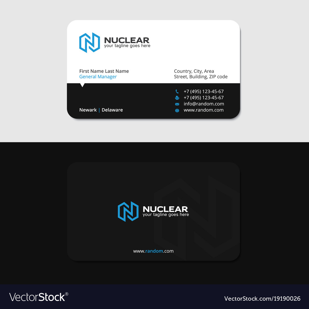 Business card with blue letter n as lightning Vector Image