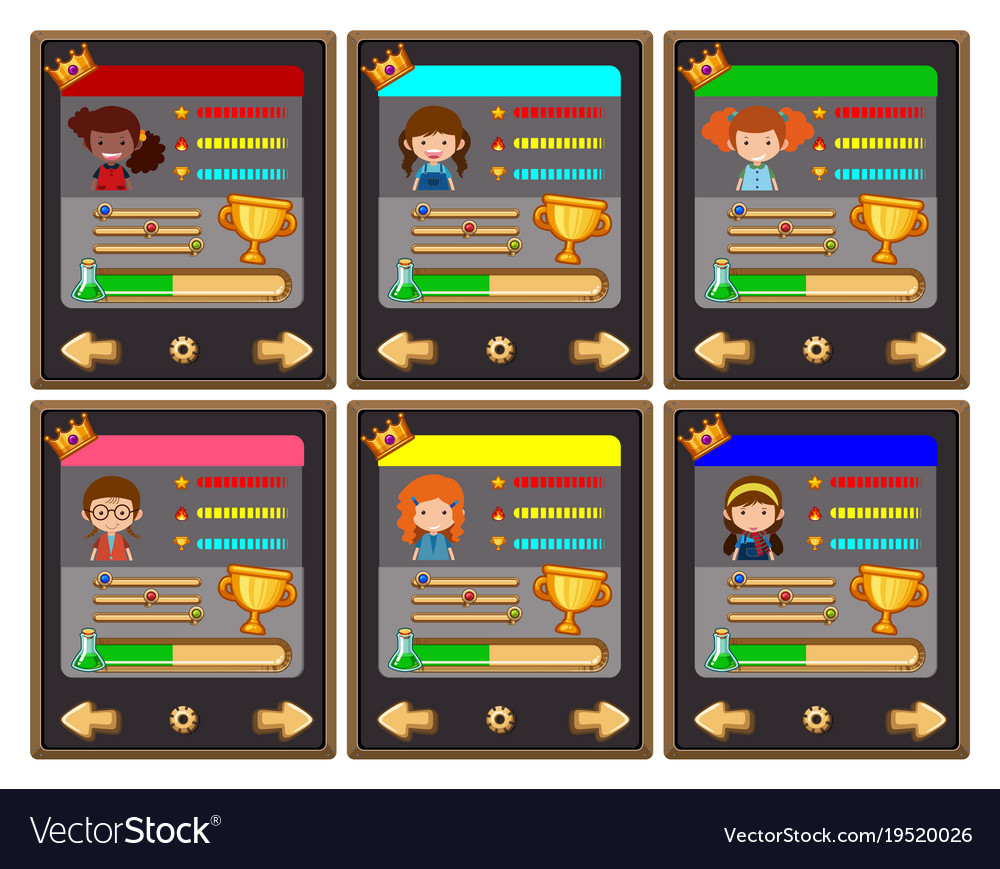 card game template with characters and buttons vector image