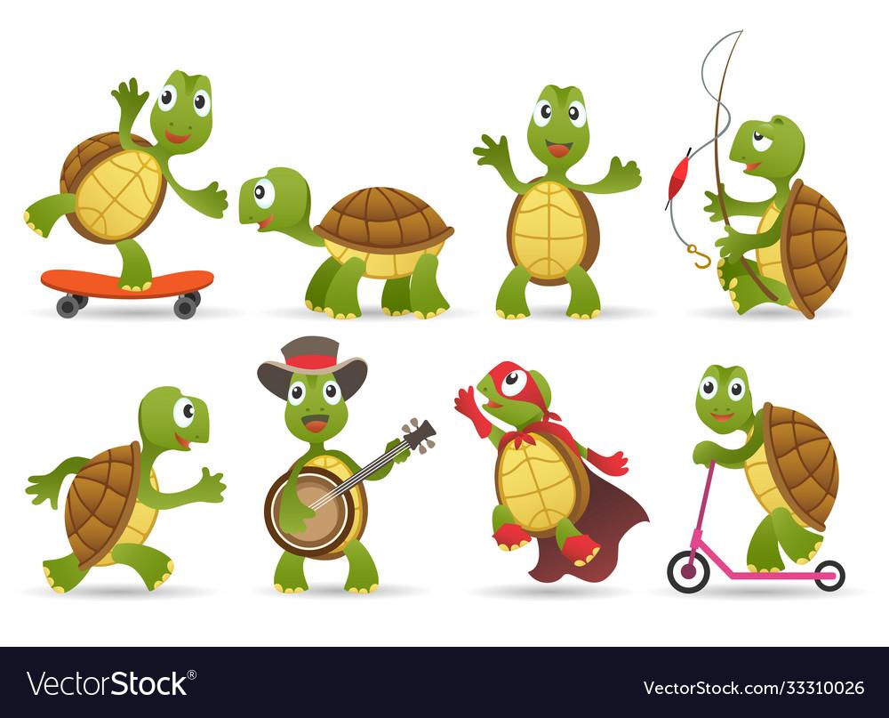 Cartoon cute tortoise set