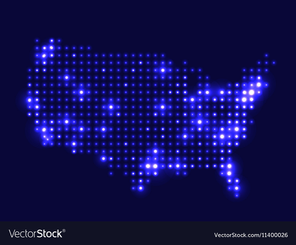 Map Of Usa At Night.Dotted Night Map Usa Royalty Free Vector Image