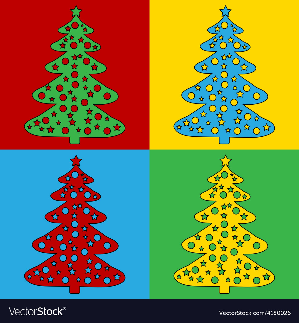 Pop art christmas tree icons vector image