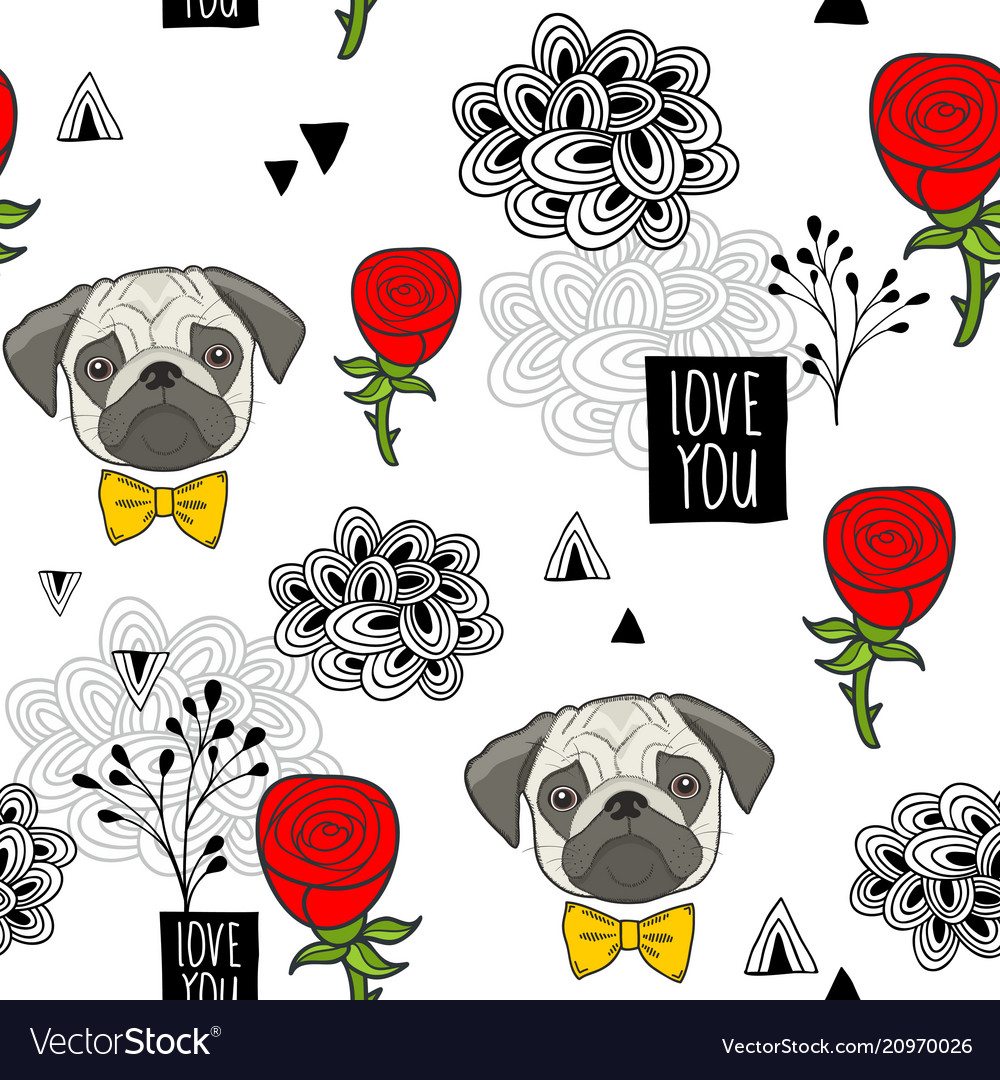 Romantic seamless pattern with cute pugs and red