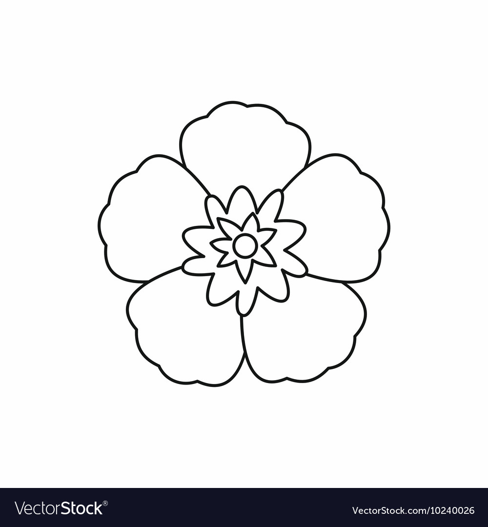Rose of Sharon korean flower icon outline style vector image