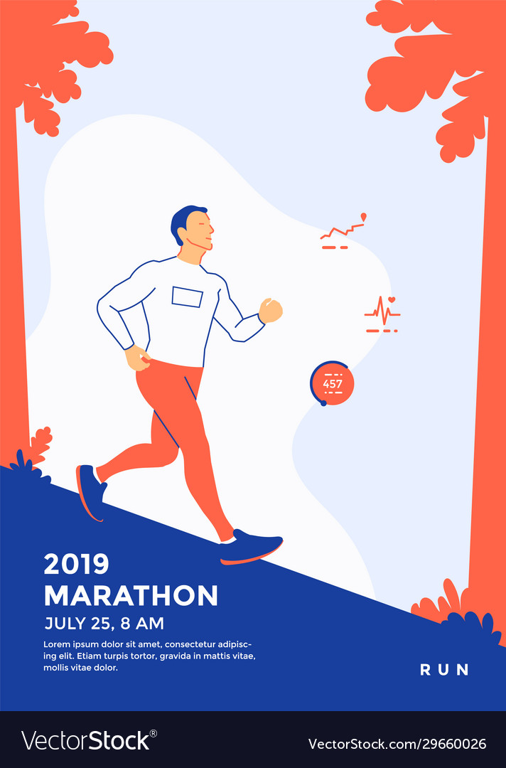Running marathon sport poster template with runner