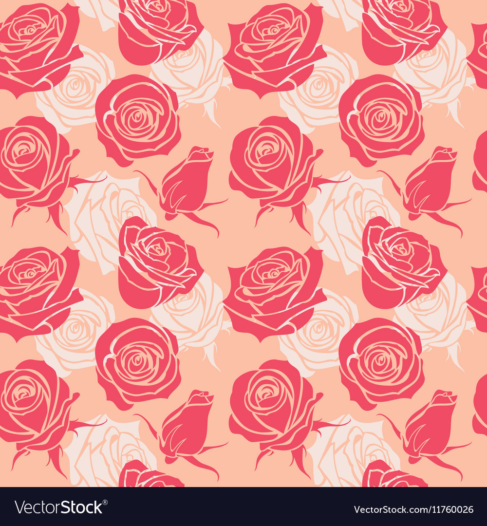 Seamless pattern with roses vintage love abstract vector image