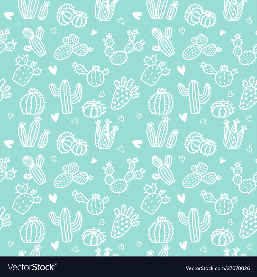 Seamless pattern with white line cactus and