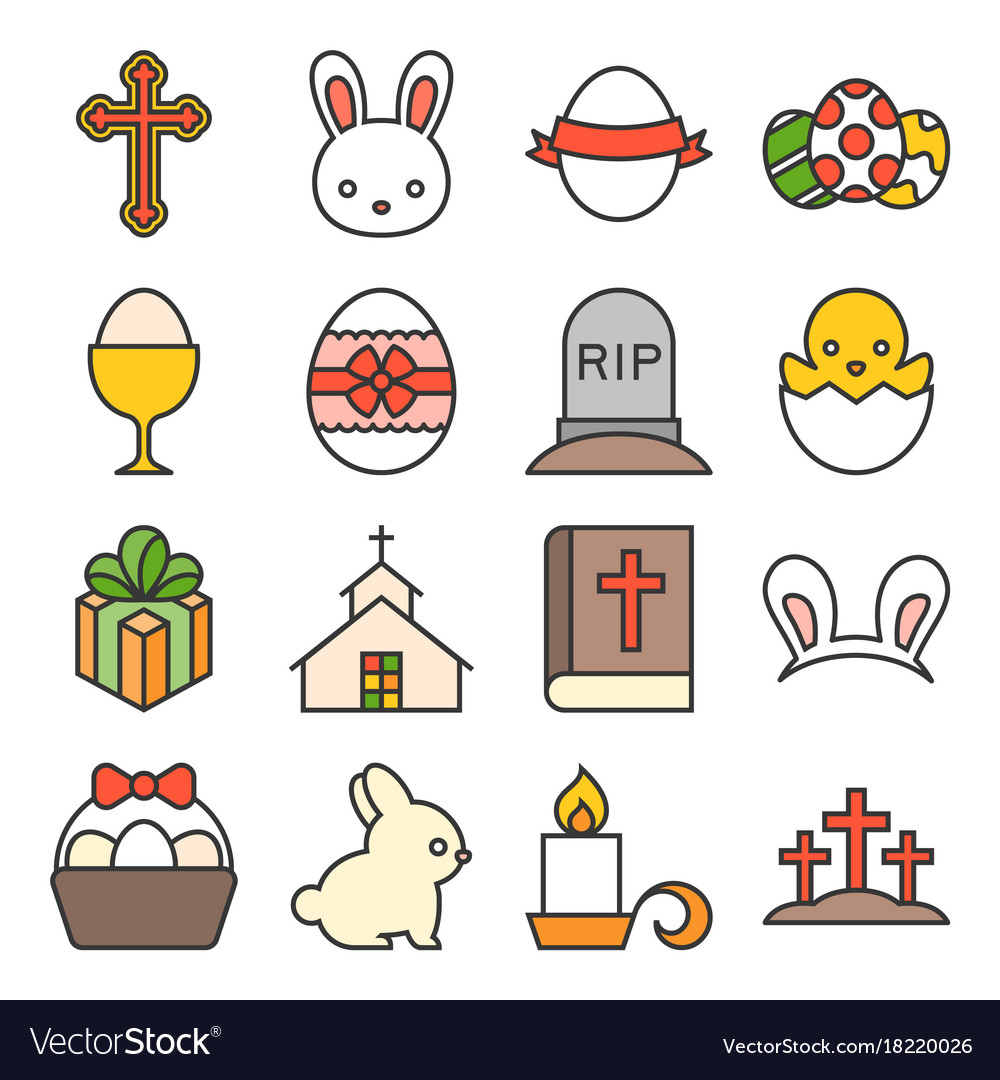 Set of cute easter icon