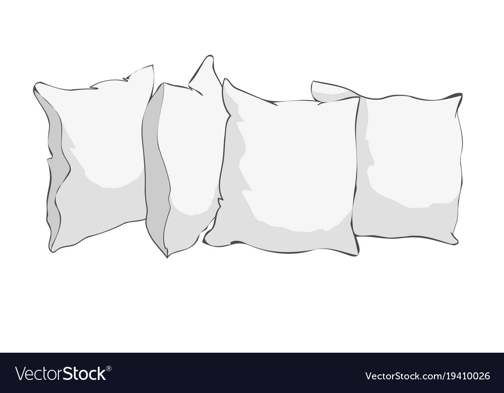 Sketch of pillow art pillow isolated white pillow