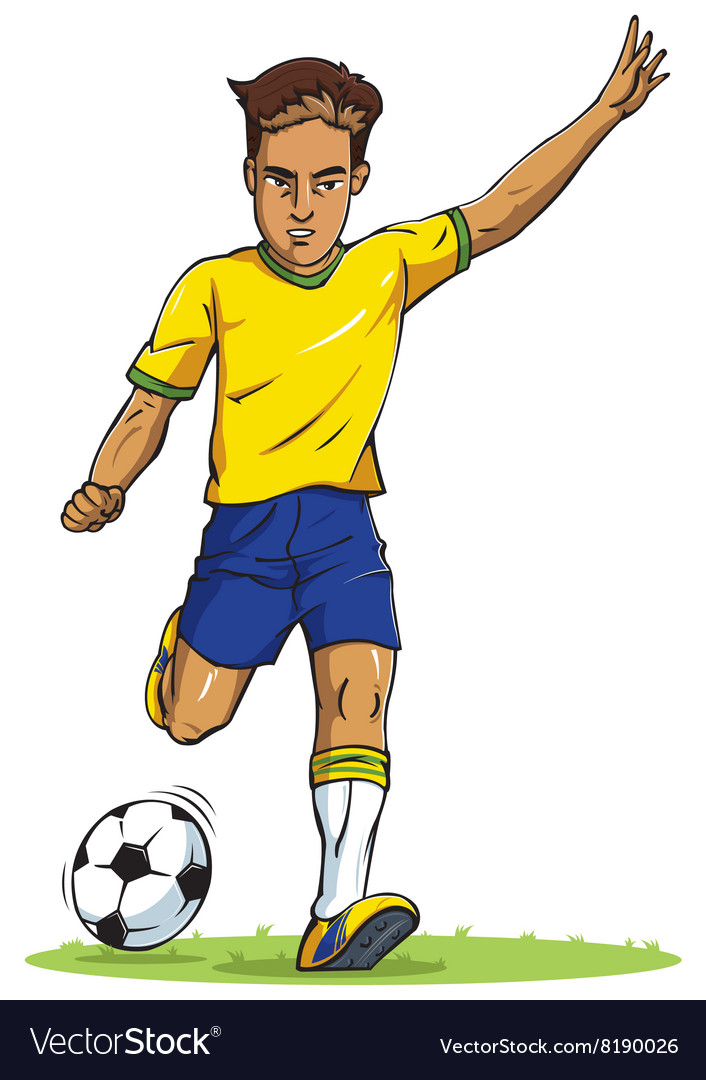 Soccer football player young man kicking in