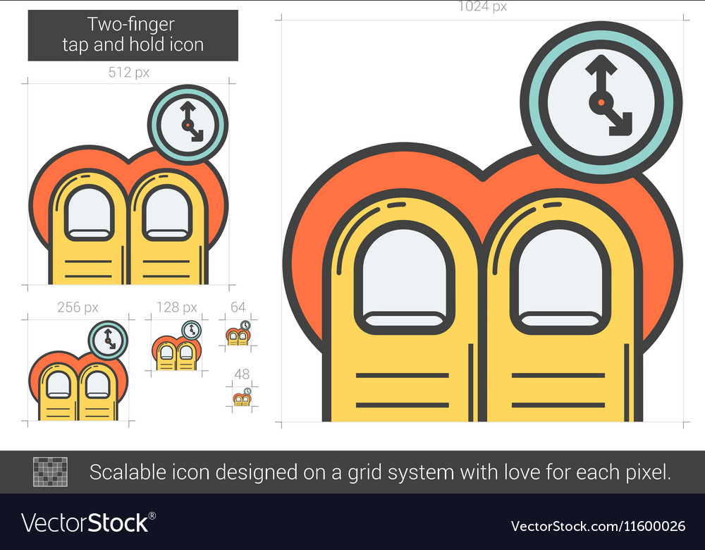 Two-finger tap and hold line icon vector image
