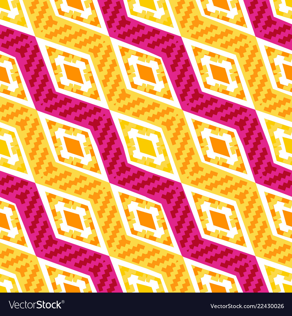 Yellow and pink diagonal african geometric pattern