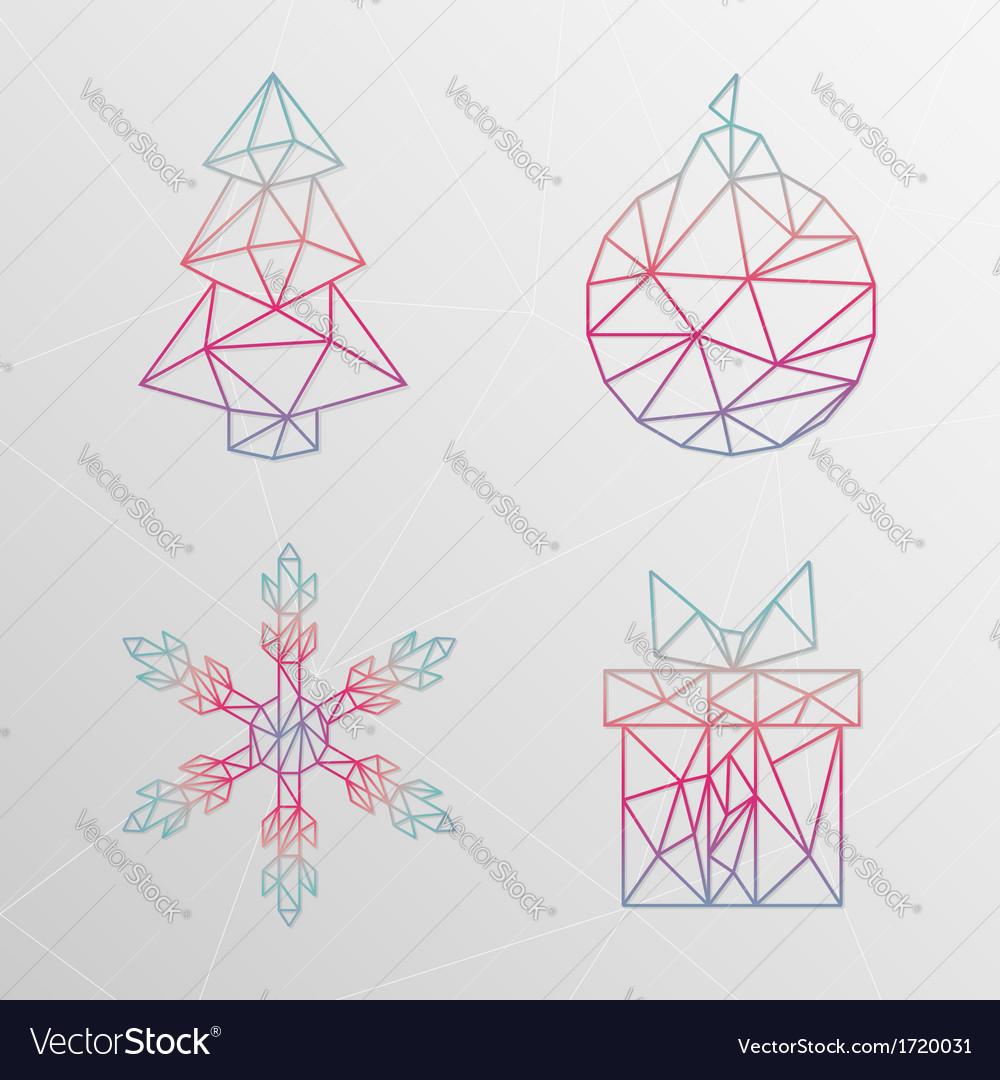 Abstract geometric christmas tree snowflake gift