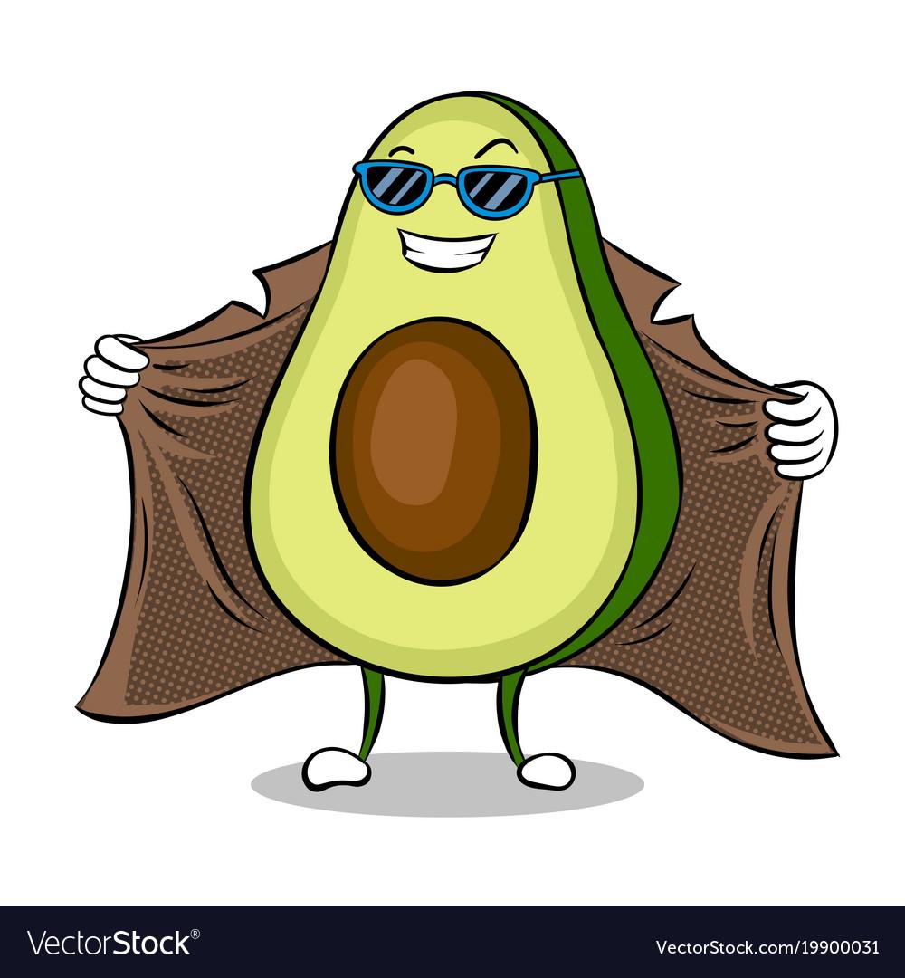 Avocado exhibitionist in raincoat pop art