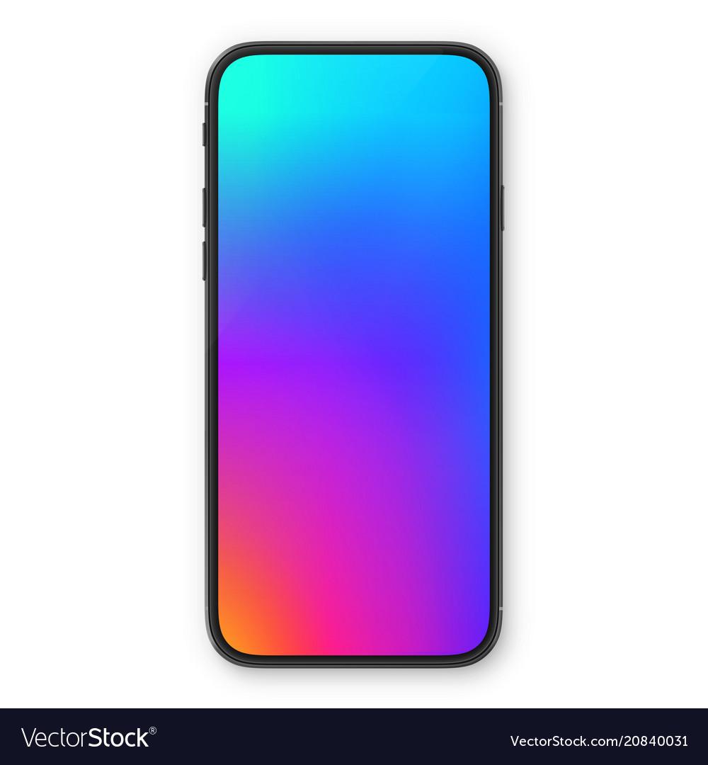 Black smartphone with blank white screen high