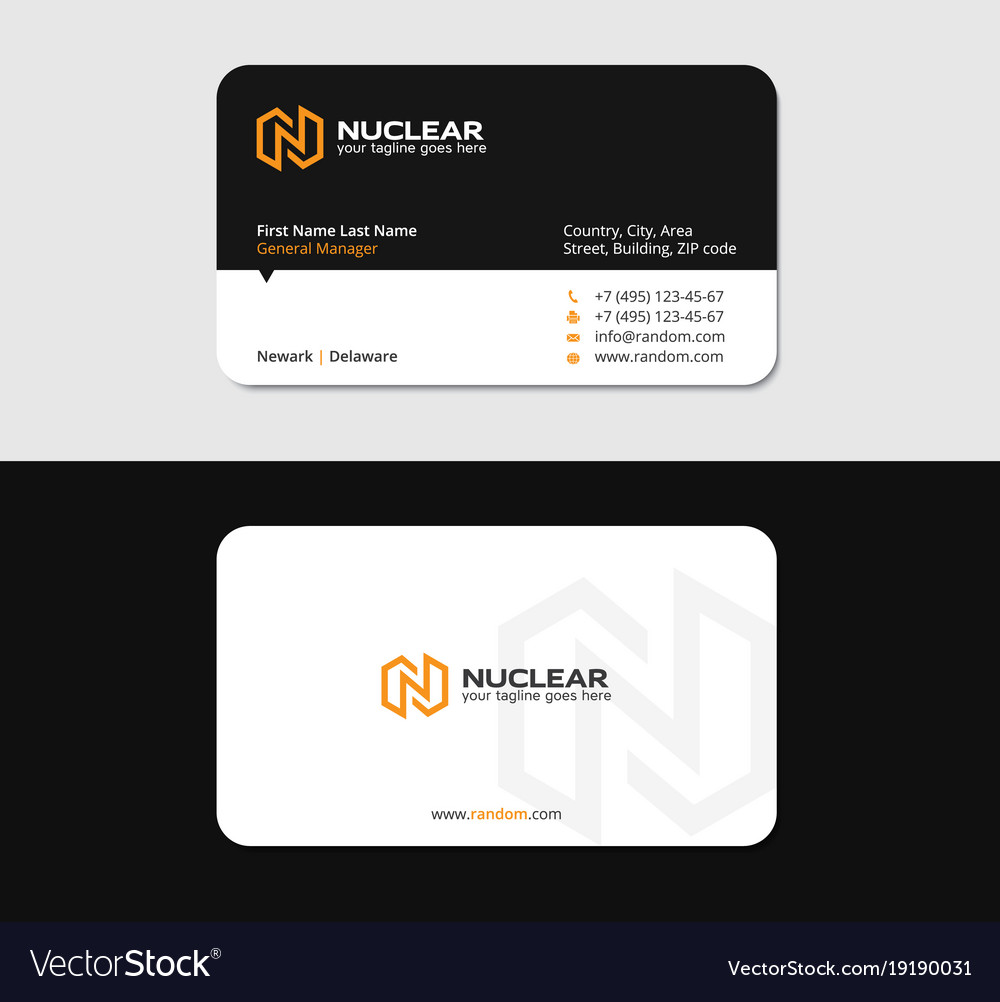 Business card with yellow n letter as thunderbolt vector image reheart Images