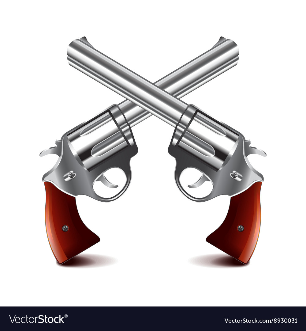 Crossed guns isolated on white