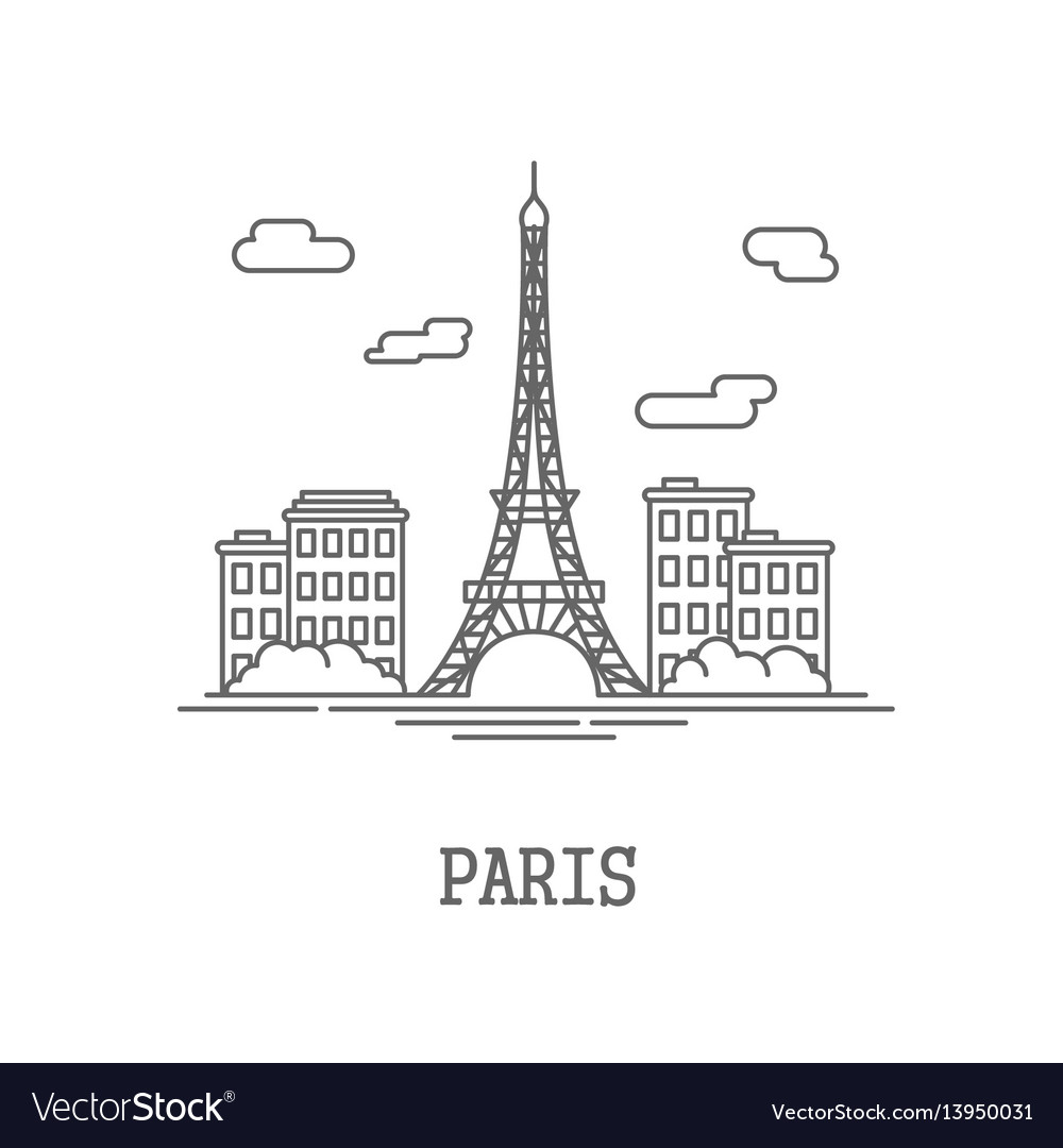 Drawing silhouette city paris