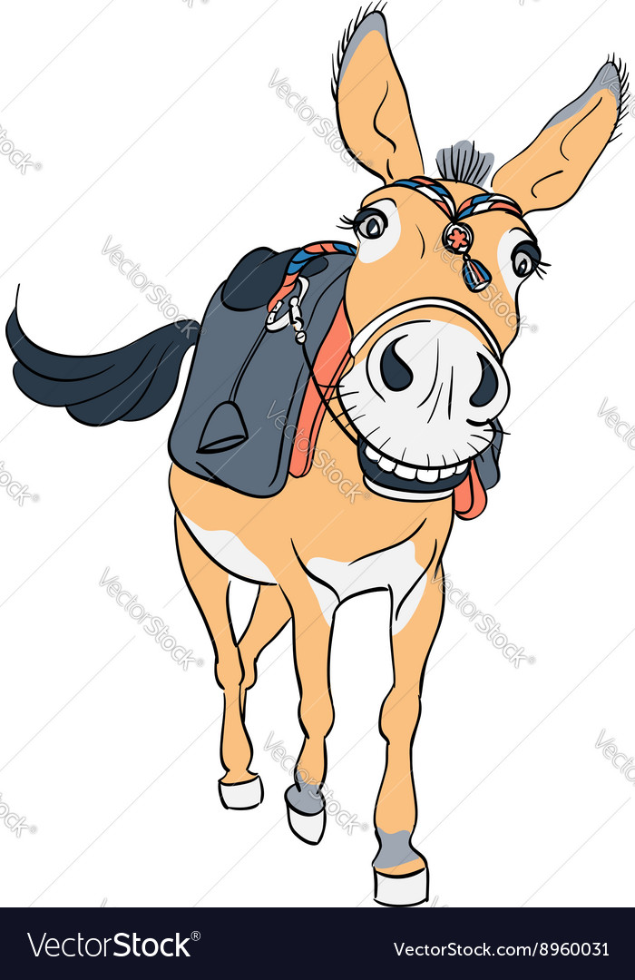 Funny donkey with a saddle